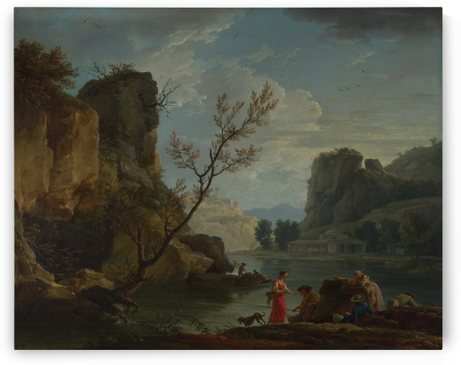 Landscape with fishermen by Claude-Joseph Vernet