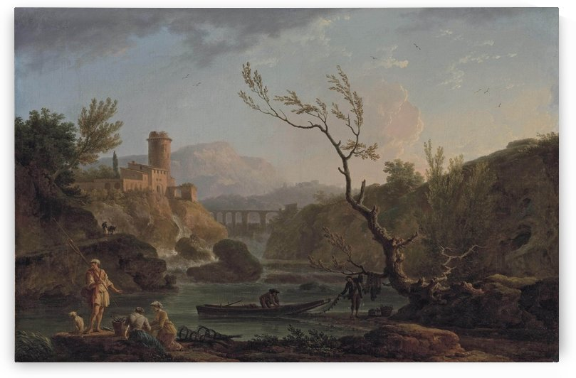 A capriccio view of Montferrat at dawn with the Gorges de Verdon and the River Nartuby by Claude-Joseph Vernet