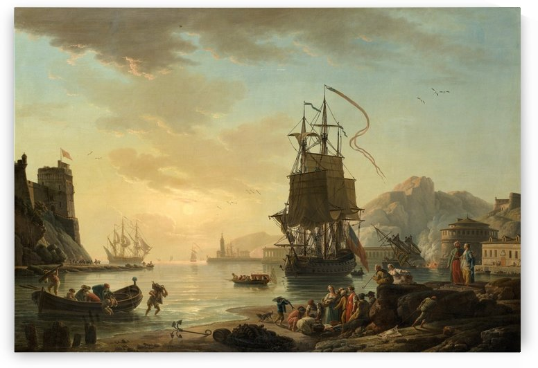 View of a Mediterranean Harbor with Fishermen and a Vessel by Claude-Joseph Vernet