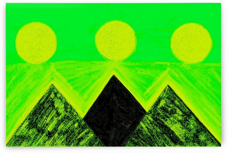 Pyramids Of Other Worlds Green And Yellow  by Sherrie Larch