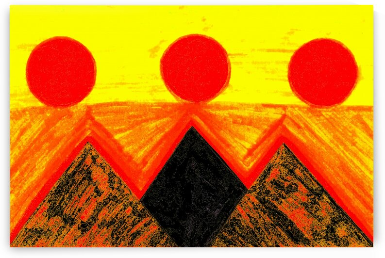 Pyramids Of Other Worlds In Orange And Yellow  by Sherrie Larch