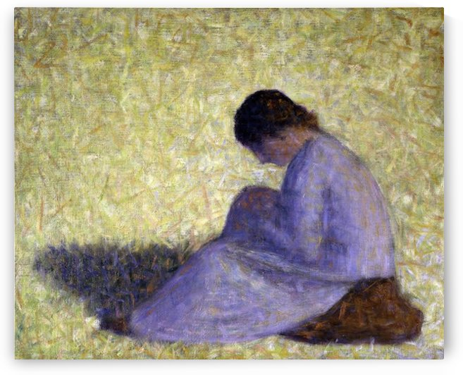 Peasant Woman Seated in the Grass by Seurat by Seurat
