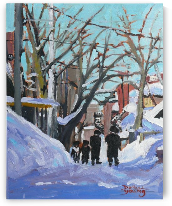 Montreal Winter Scene, Shabbat by Darlene Young Canadian Artist