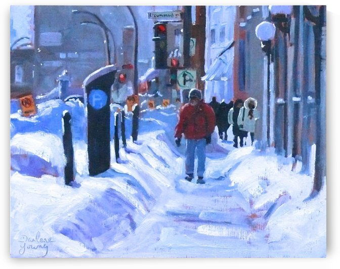 Winter Signs, Montreal Downtown Scene by Darlene Young