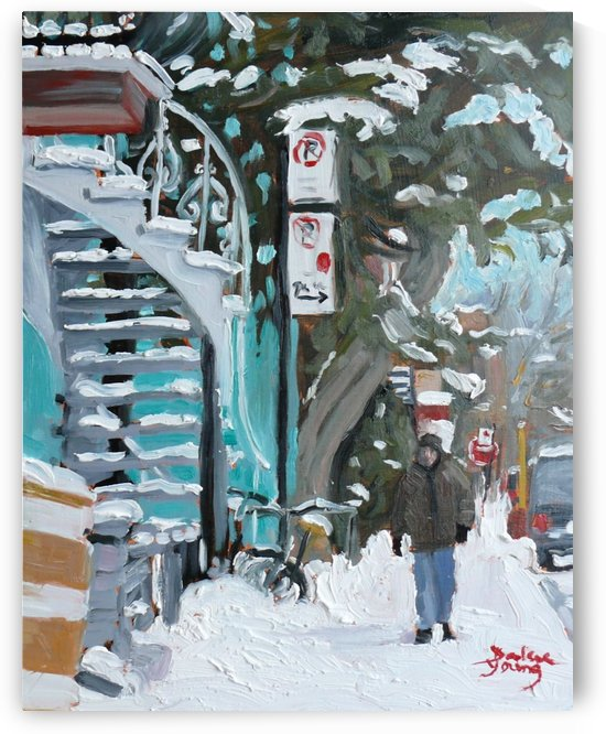 Montreal Winter, Mile End Scene by Darlene Young
