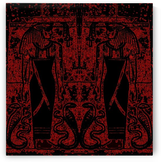 Egyptian Priests And Snakes Black And Red 1 by Sherrie Larch
