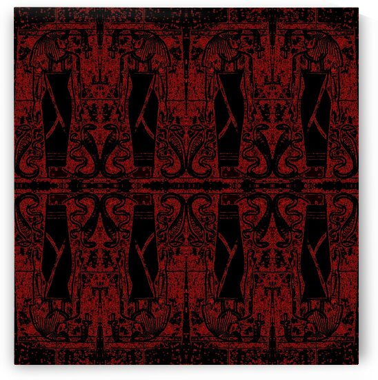 Egyptian Priests And Snakes Black And Red 2 by Sherrie Larch