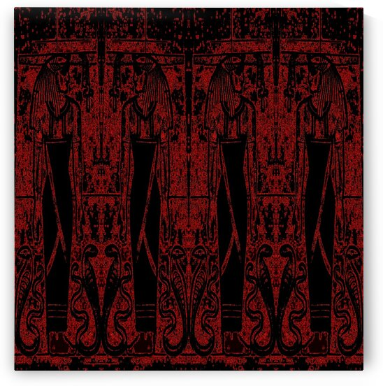 Egyptian Priests And Snakes Black And Red 3 by Sherrie Larch