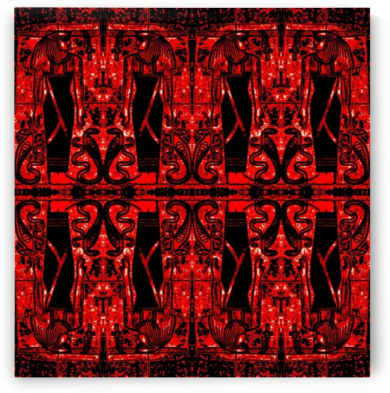 Egyptian Priests And Snakes Red And Black 2 by Sherrie Larch