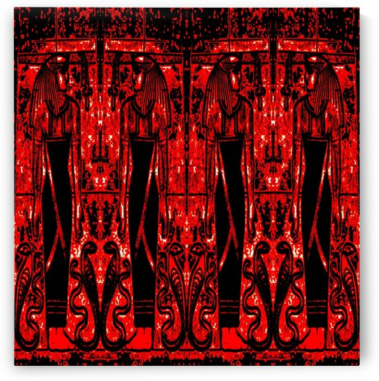 Egyptian Priests And Snakes Red And Black 3 by Sherrie Larch