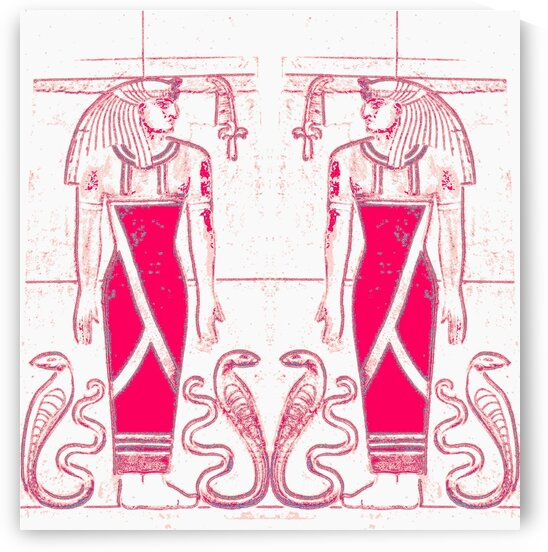Egyptian Priests and Snakes In White And Rose Red 1 by Sherrie Larch