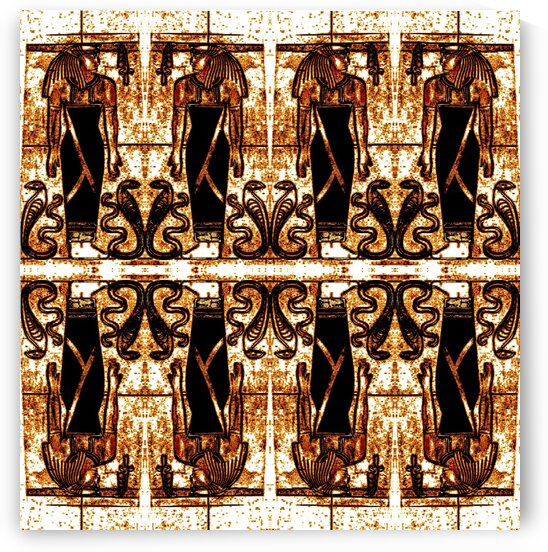 Egyptian Priests And Snakes In White And Gold 2 by Sherrie Larch