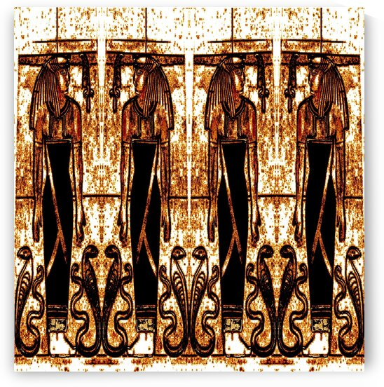 Egyptian Priests And Snakes In White And Gold 3 by Sherrie Larch