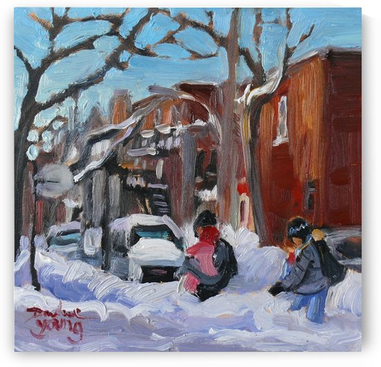 Young Family, Montreal winter scene by Darlene Young