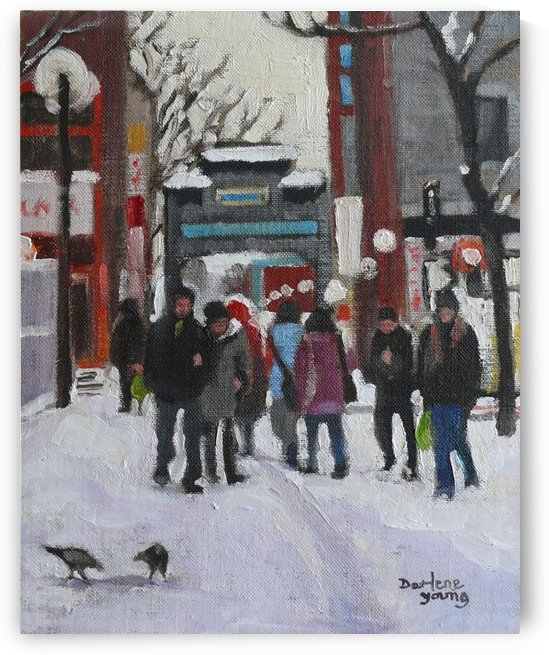 Montreal Winter Scene Chinatown by Darlene Young