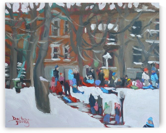 Parc La Fontaine, Montreal Winter Scene by Darlene Young