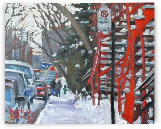 Montreal Winter Scene, Mile End, Red Stairs by Darlene Young