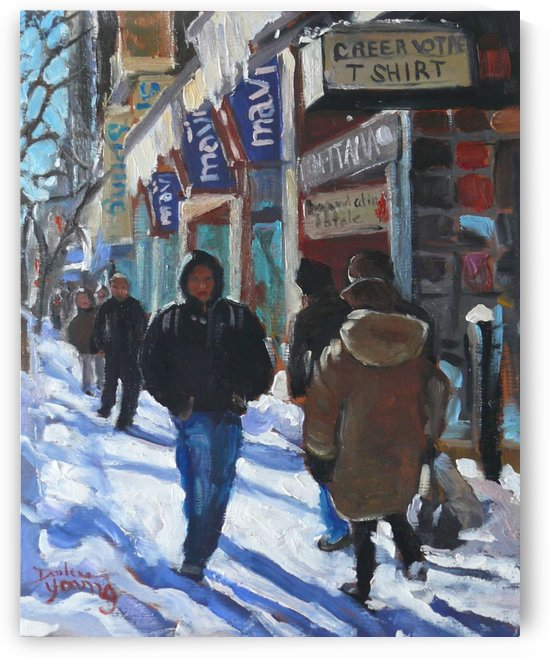Montreal Winter Scene, Ste-Catherine by Darlene Young