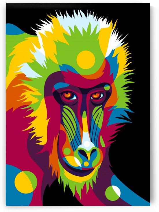 Baboon Head Pop Art Portrait by wpaprint