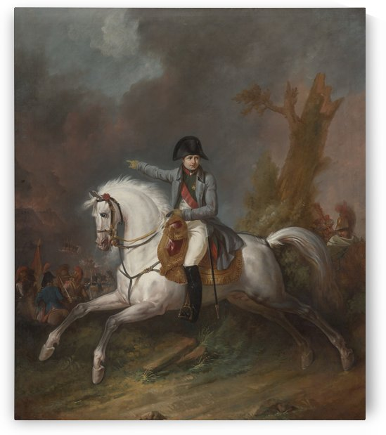 Un portrait equestre de l'empereur Napoleon avec une bataille au dela by Antoine Charles Horace Vernet