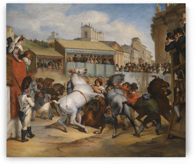 Wild horse race in Rome by Antoine Charles Horace Vernet