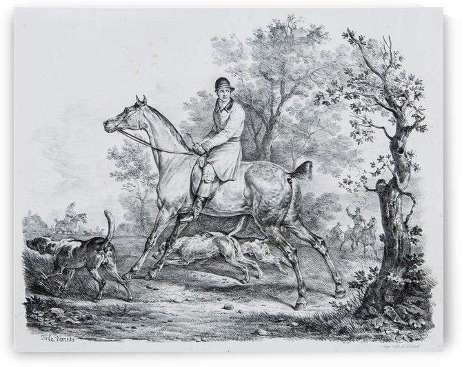 At hunt by Antoine Charles Horace Vernet