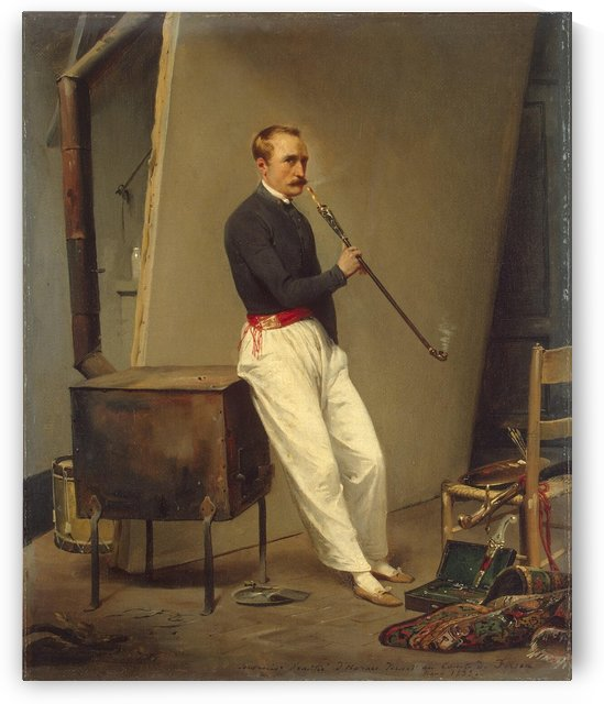 Self-Portrait with Pipe by Antoine Charles Horace Vernet