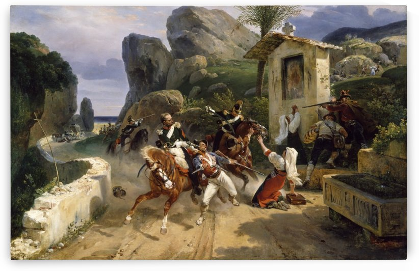 Italian Brigands Surprised by Papal Troops by Antoine Charles Horace Vernet