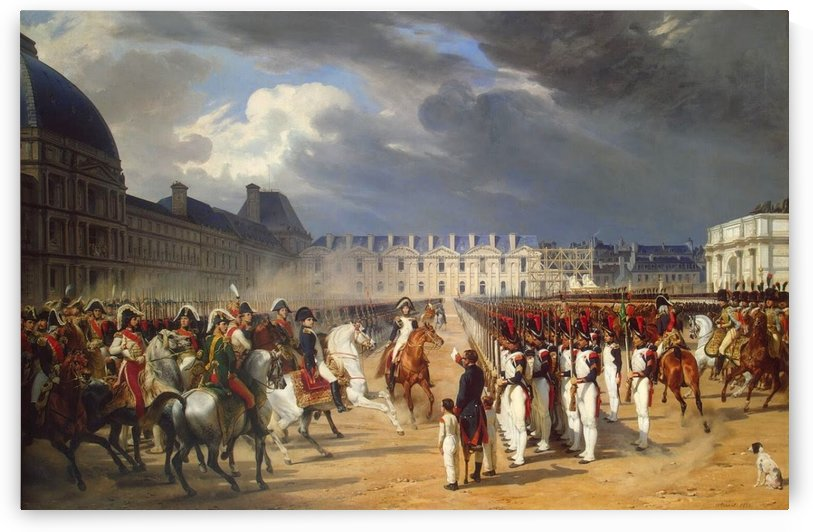 An Invalid Submitting a Petition to Napoleon at a Parade in the Courtyard of the Tuileries Palace 1838 by Antoine Charles Horace Vernet