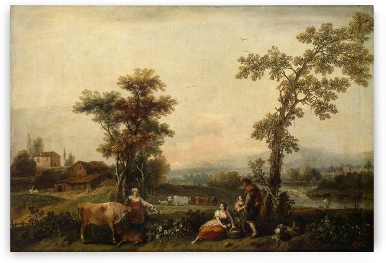 Landscape with woman leading a cow by Francesco Zuccarelli