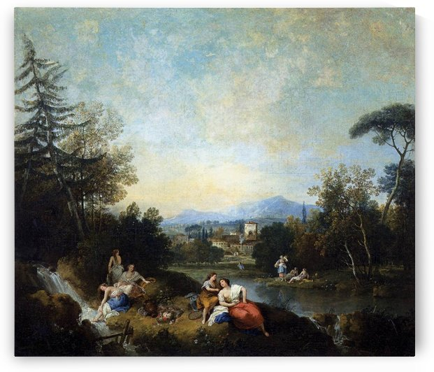 Landscape with girls at a river by Francesco Zuccarelli