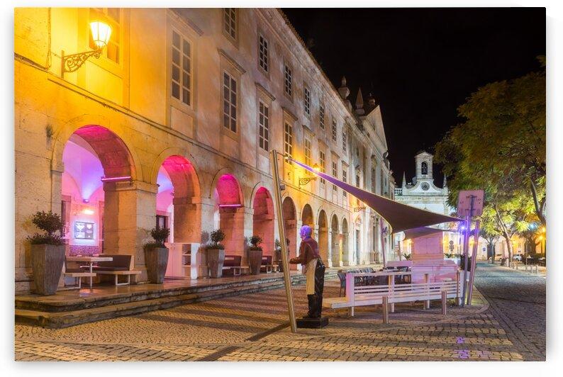Charming Faro Algarve Portugal - Multicolored Neon and a Cool Server Statue at the City Center Plaza by GeorgiaM