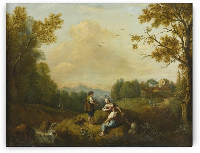 Italian river landscape with three figures by Francesco Zuccarelli