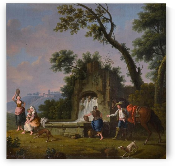 Landscape with fountain and figures by Francesco Zuccarelli
