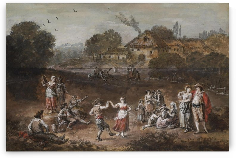 Landscape with figures dancing by Francesco Zuccarelli