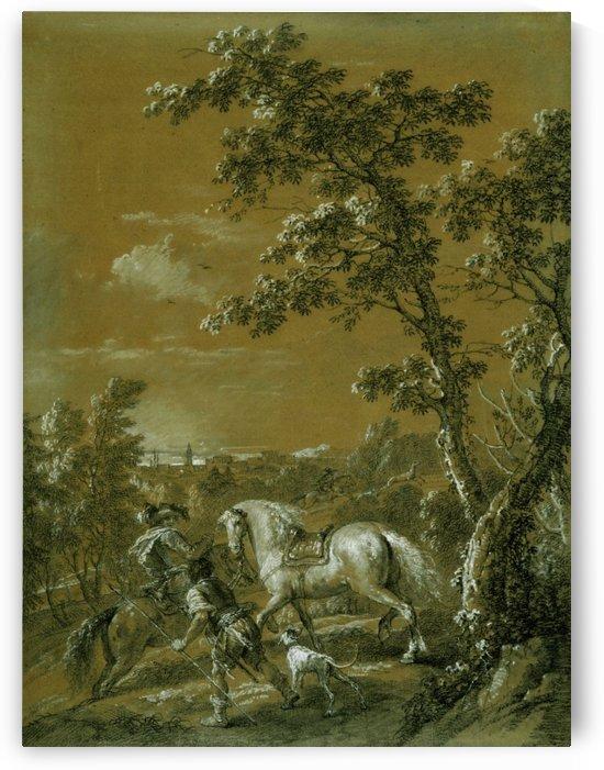 A hunting scene by Francesco Zuccarelli