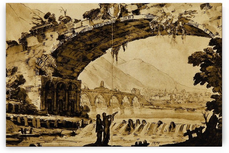 Paesaggio with bridges and figures by Francesco Zuccarelli