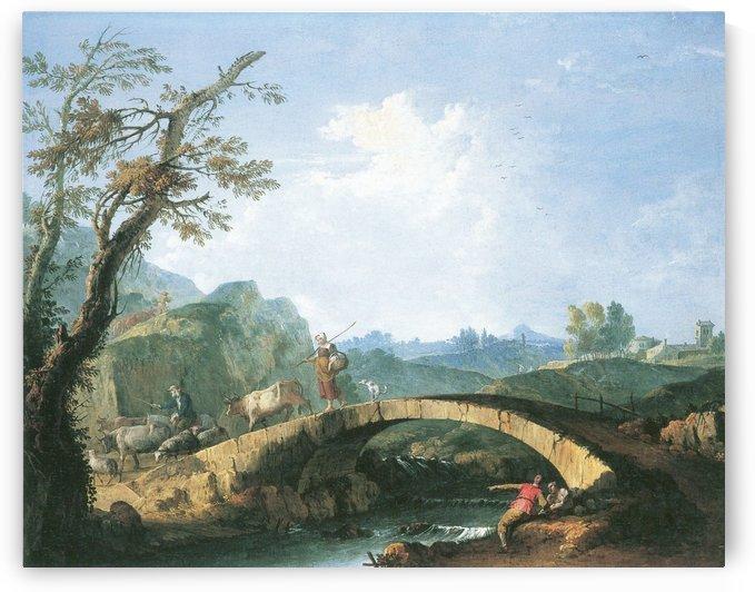 Landschaft mit Brucke by Francesco Zuccarelli