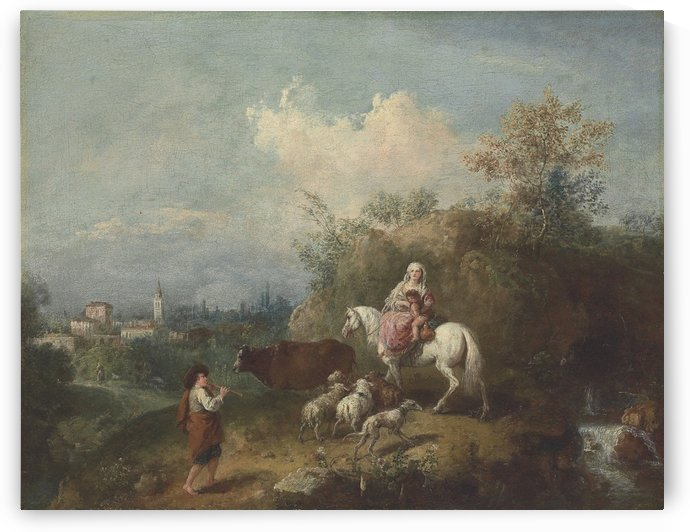 A pastoral landscape, with a woman and child on a white horse by Francesco Zuccarelli