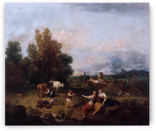 Landscape with figures and cattle by Francesco Zuccarelli