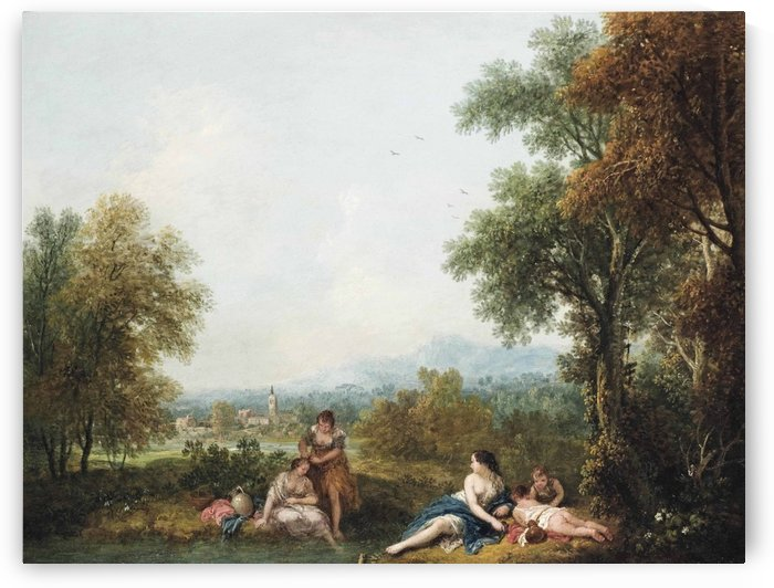A pastoral river landscape with figures bathing by Francesco Zuccarelli