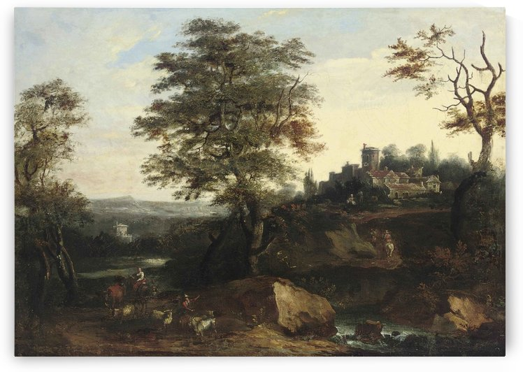 A wooded river landscape, with shepherds and their cattle, a town beyond by Francesco Zuccarelli