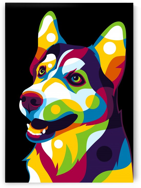 The Colorful Siberian Husky Dog by wpaprint
