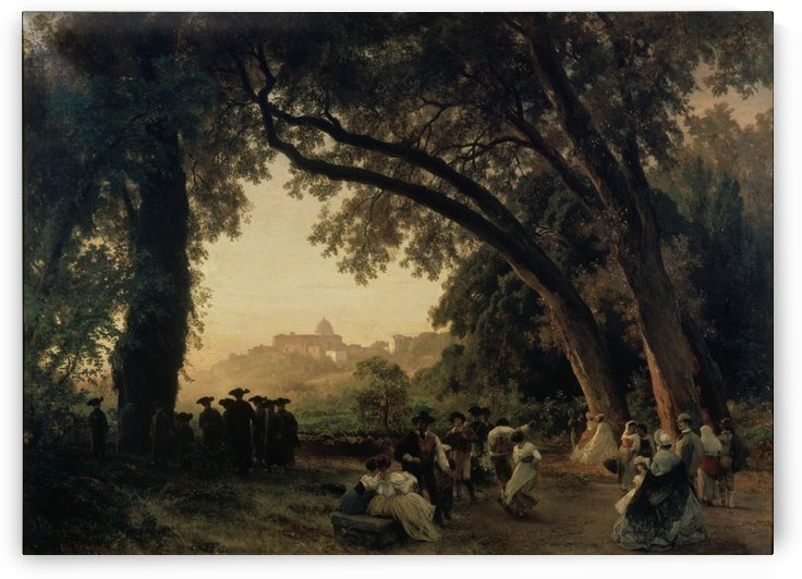 Saltarellotanz mit Blick auf Castel Gandolfo by Oswald Achenbach