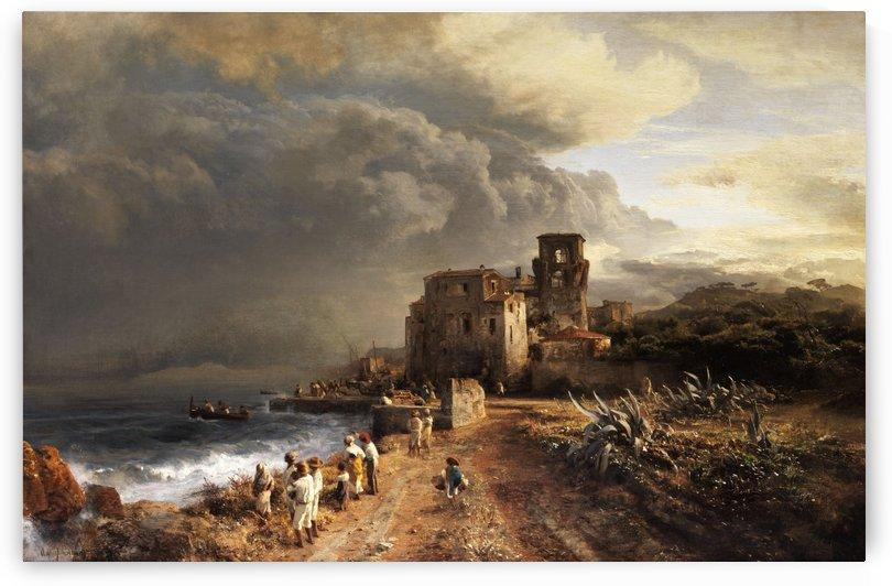 Verschattete Landschaft am Meer mit Figurenstaffage by Oswald Achenbach