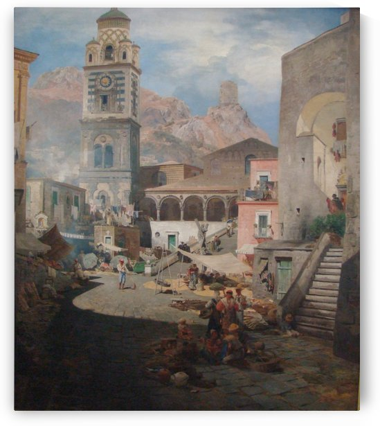 Market Square in Amalfi, 1876 by Oswald Achenbach