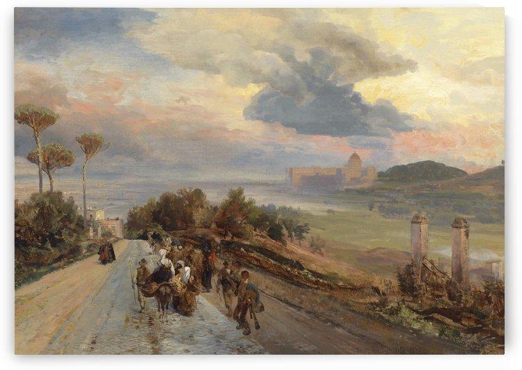 Via Cassia bei Rom 1878 by Oswald Achenbach