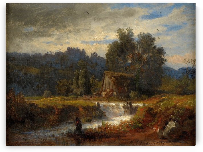 Norwegian landscape with fisherman by Oswald Achenbach