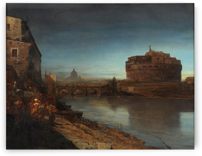 View of the Tiber and Castel Sant Angelo by Oswald Achenbach
