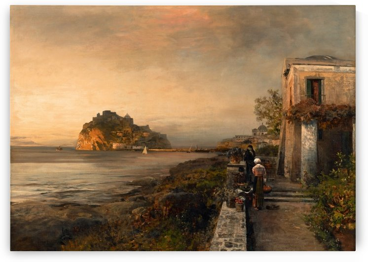 Ischia with a View of Castel Aragonese by Oswald Achenbach